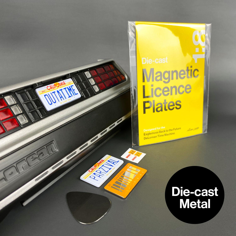 DeLorean licence plates mods in die-cast metal